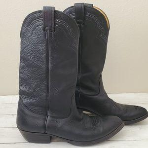 Vintage Nocona Leather Cowboy Boots Men's 10 Black